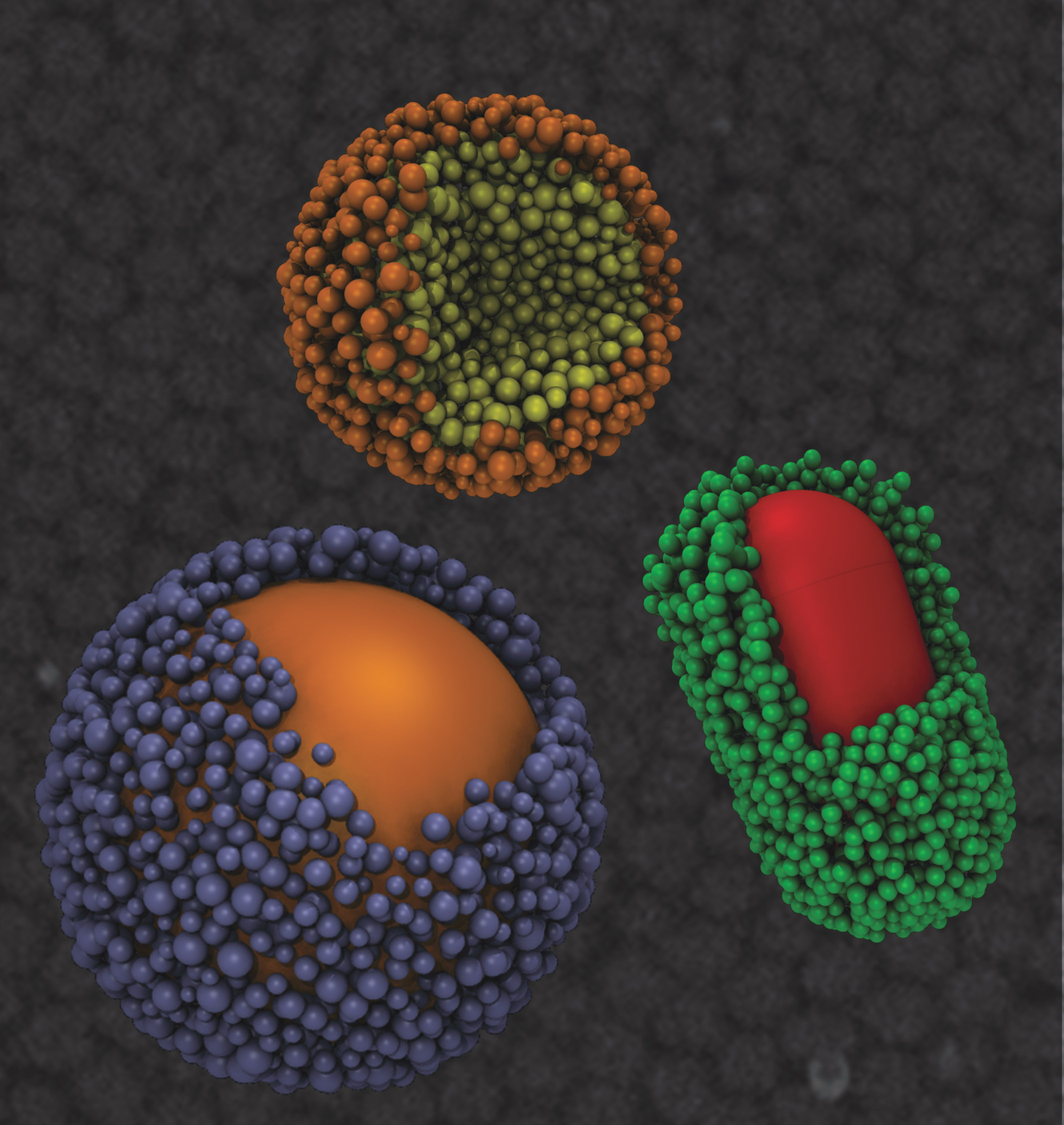 Engineering researchers have discovered that under the right circumstances, basic atomic forces can be exploited to enable nanoparticles to assemble into superclusters that are uniform in size and share attributes with viruses. Credit: T.D.Nguyen, Glotzer Group, University of Michigan