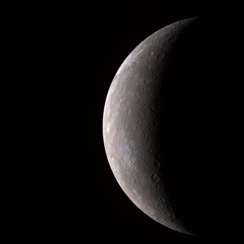Planet Mercury as seen from the MESSENGER spacecraft in 2008. Credit: NASA