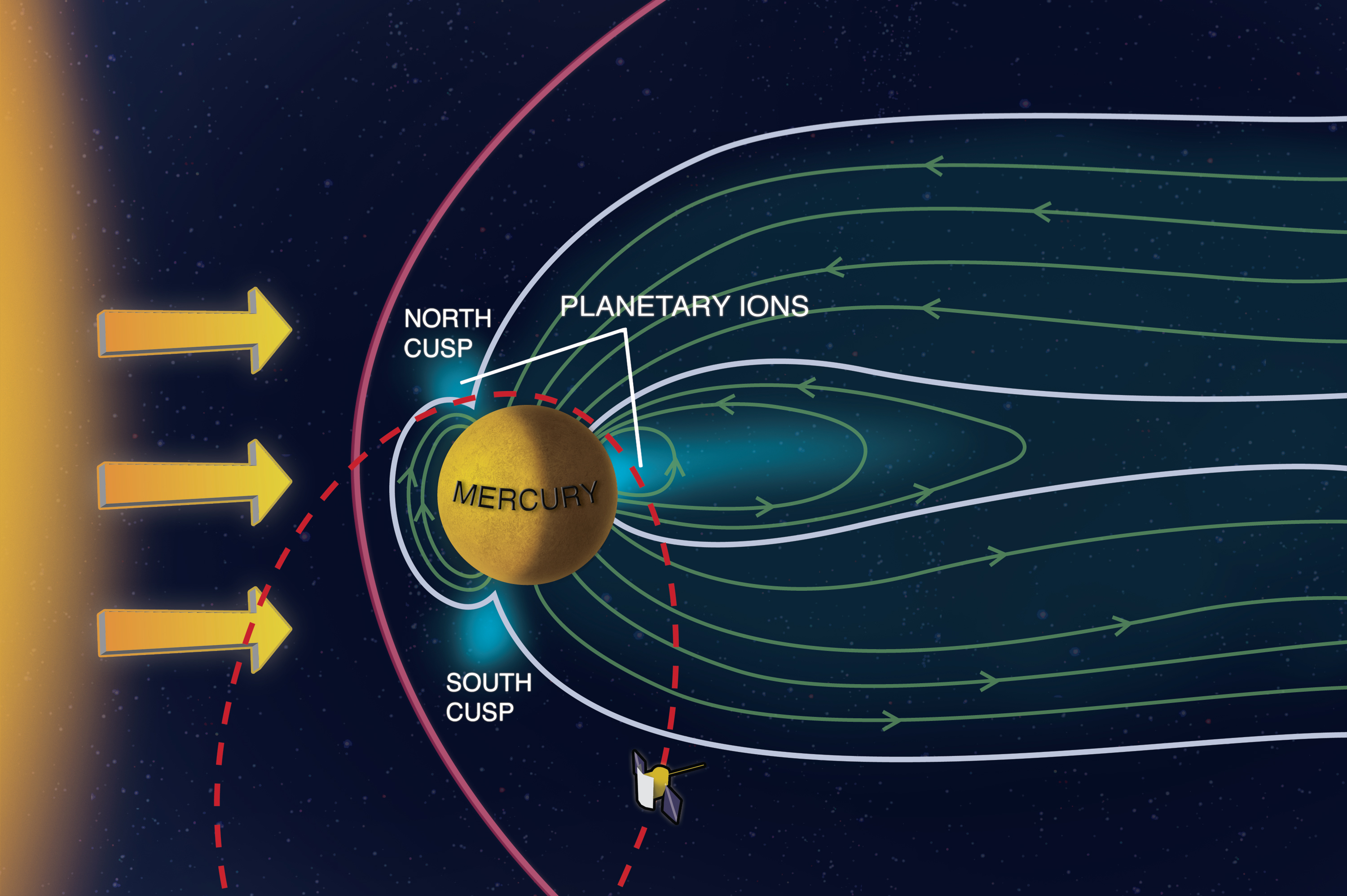 The MESSENGER spacecraft is currently in orbit around planet Mercury. The Fast Imaging Plasma Spectrometer (FIPS) on board is taking the first global measurements of the charged particles in Mercury's space environment. FIPS found that at the magnetic cusps near the planet's poles, the solar wind is able to bear down on Mercury enough to blast particles from its surface into its wispy atmosphere. Shannon Kohlitz, Media Academica, LLC