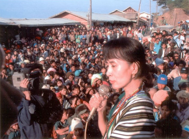 Aung San San Kyi at a Rally in Chin state. Image courtesy of Burma Campaign UK
