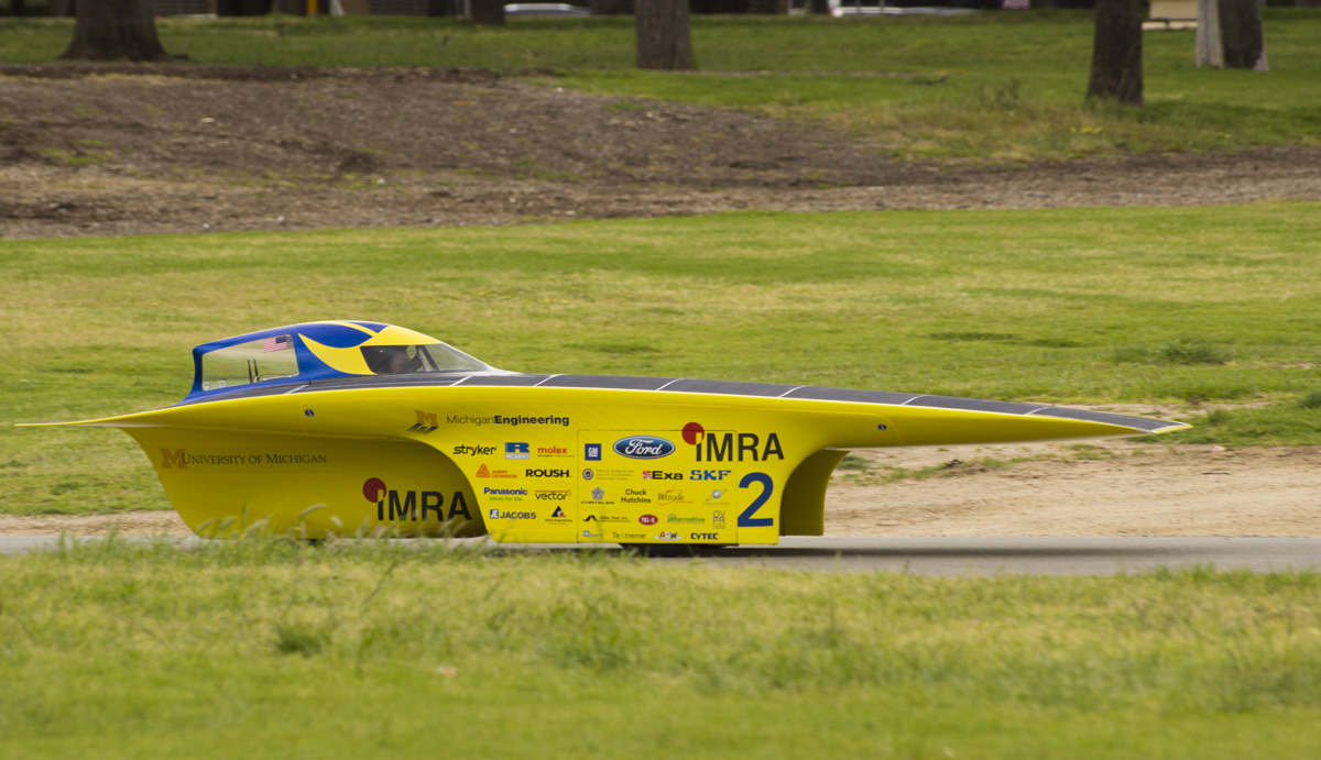 University of Michigan solar car Quantum driving in Australia. The World Solar Challenge begins Oct. 16. Credit: Evan Dougherty