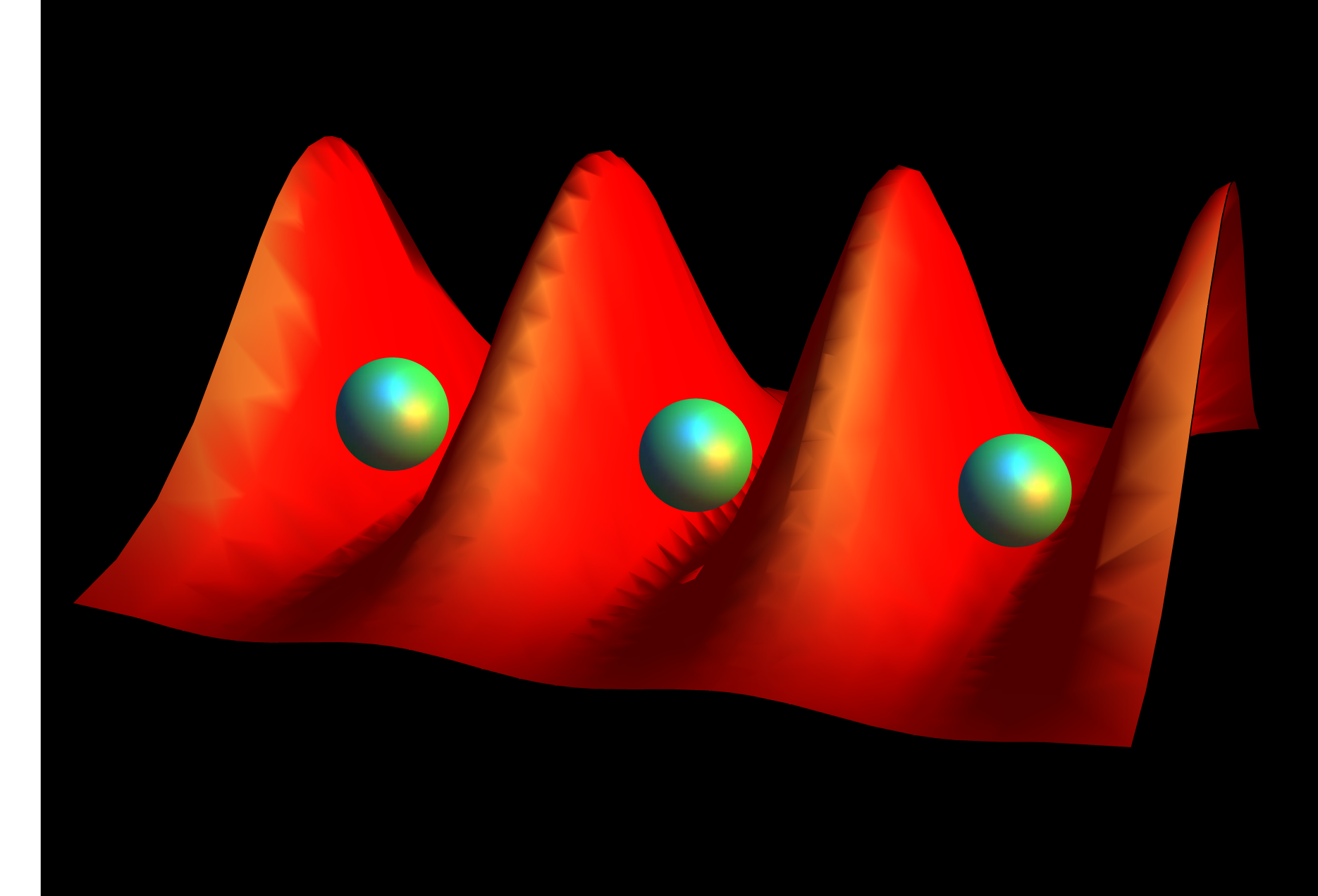 Giant Rydberg atoms become trapped in wells of laser light in a new highly efficient trap developed by University of Michigan physicists. They liken it to an egg carton. Image: Sarah Anderson