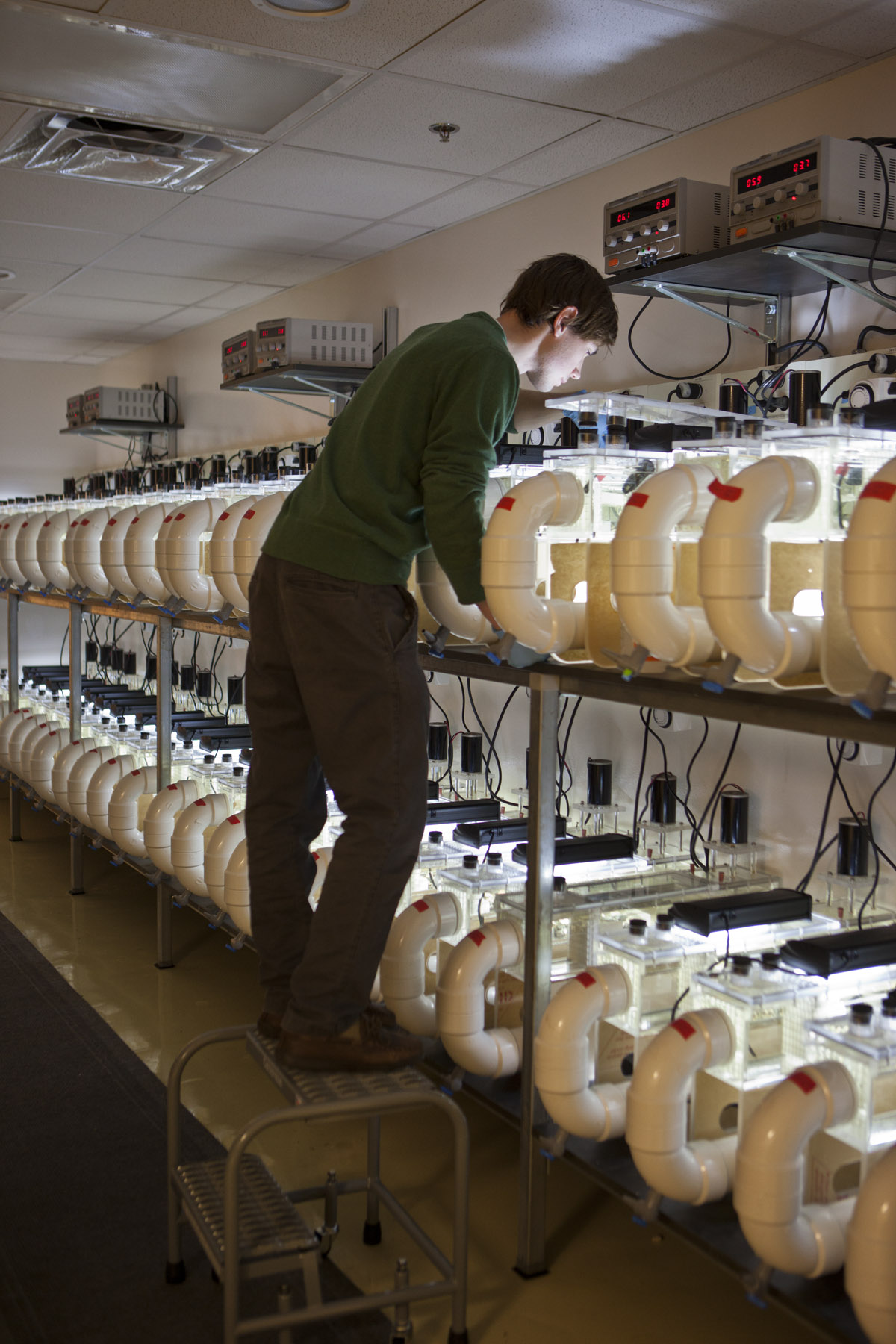 "Researchers working in the new U-M ""Flume  Room."" Photo: Austin Thomason, U-M Photo Services"