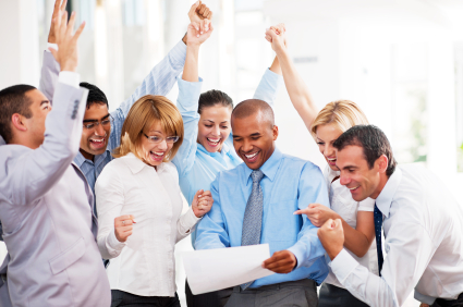 Happy employees celebrating productivity