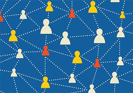 Illustration of a social media network