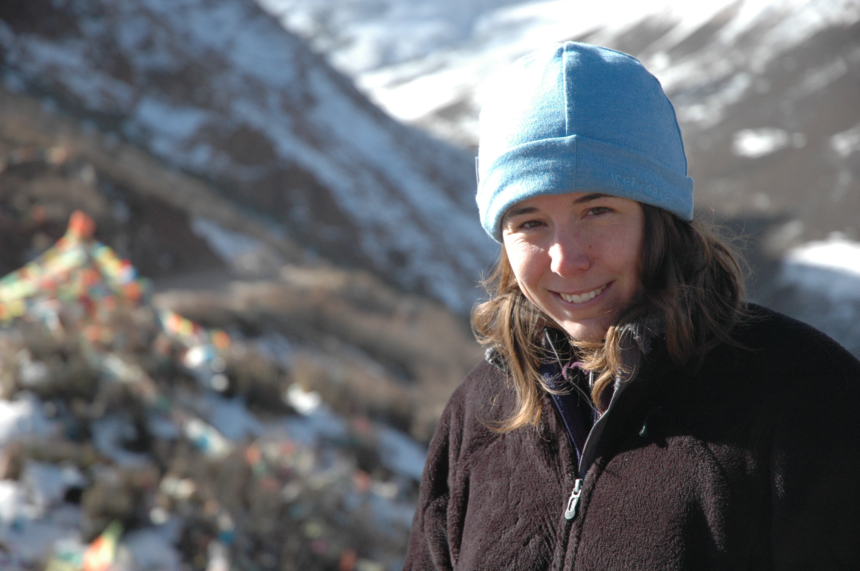 U-M geomorphologist and geophysicist Marin Clark at a Tibetan mountain pass.