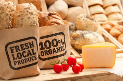 "Image depicting breads in bags marked ""Fresh Local Produce"" and ""100% Organic"""