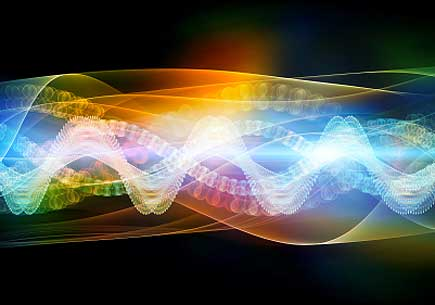 Interplay of abstract DNA spiral, colors and lights on the subject of molecular biology, science, research, lab work and modern technologies (stock image)