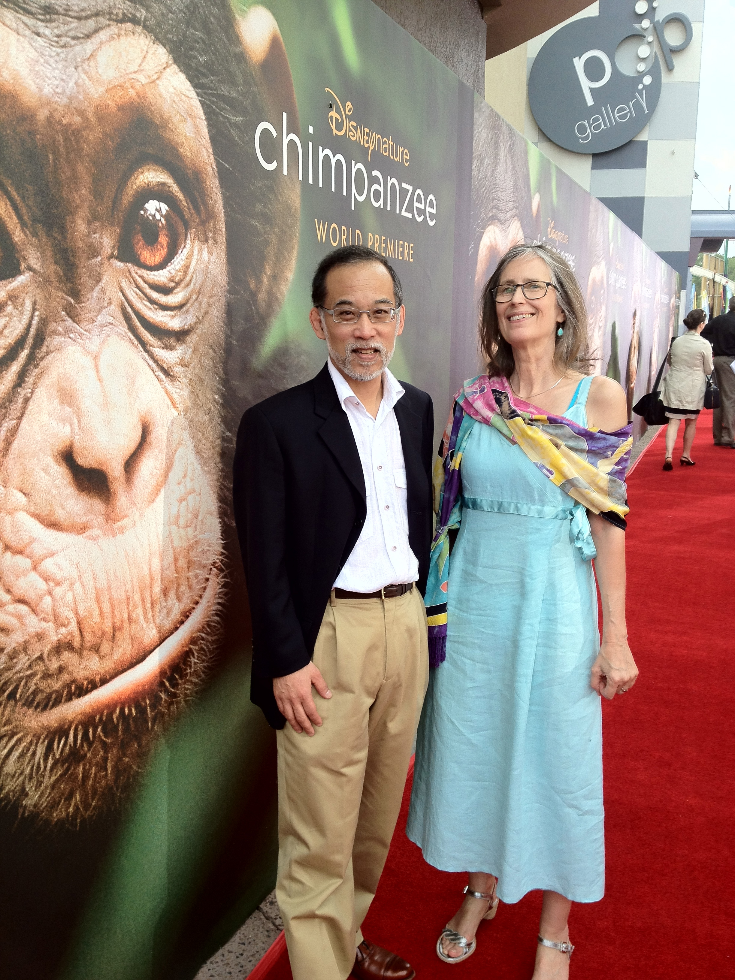 "U-M anthropologist John Mitani and wife Sally Mitani on the red carpet at the world premier of the DisneyNature movie ""Chimpanzee""."