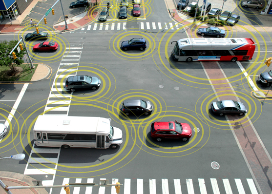 Connected vehicles can help prevent crashes at busy intersections. Image credit: Department of Transportation