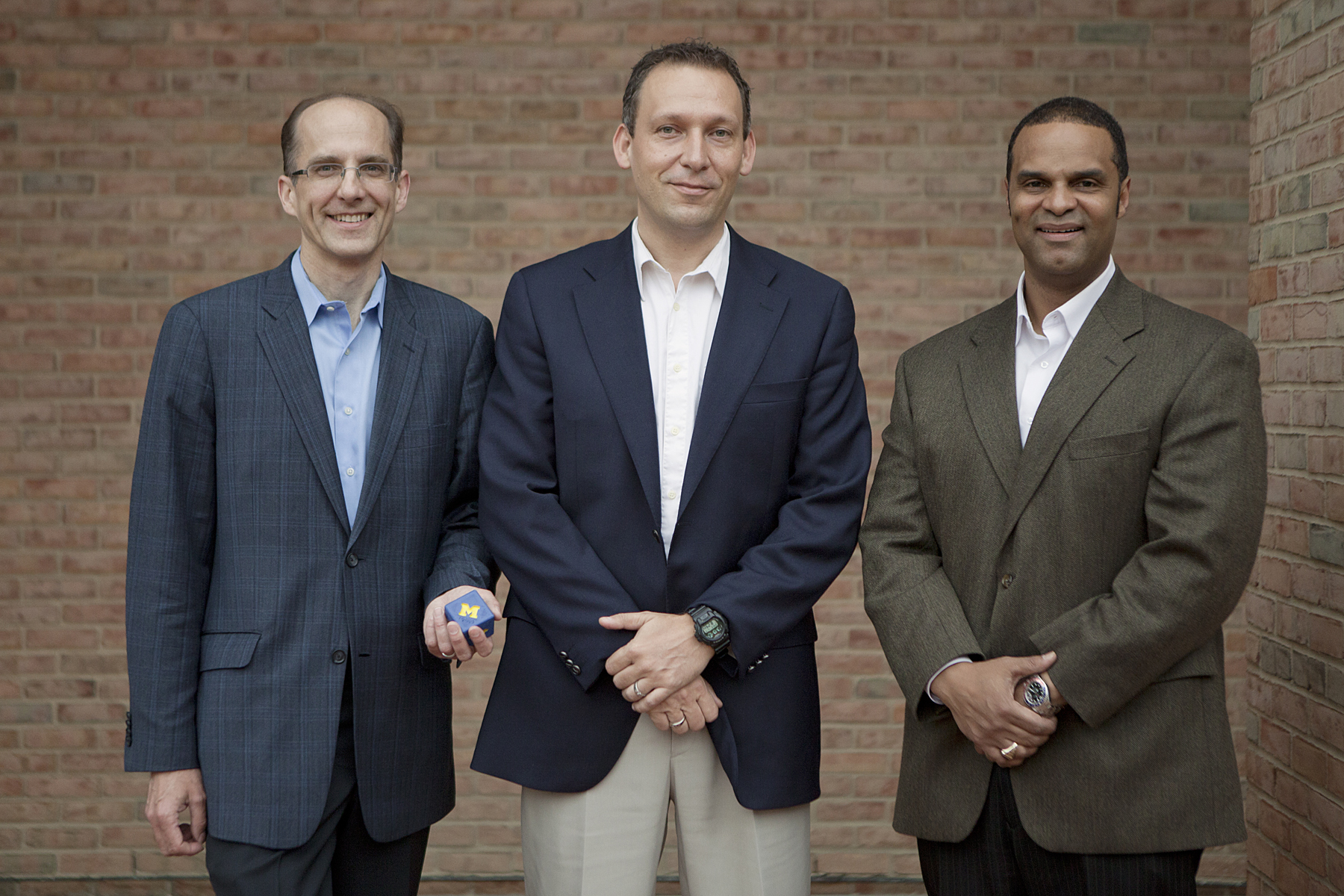 MCubed, the University of Michigan's new real-time research funding initiative, was spearheaded by three engineering faculty members: Mark Burns, chair of chemical engineering; Thomas Zurbuchen, associate dean for entrepreneurial programs, and Alec Gallimore, associate dean for research and graduate education. Image credit: Laura Rudich, U-M College of Engineering