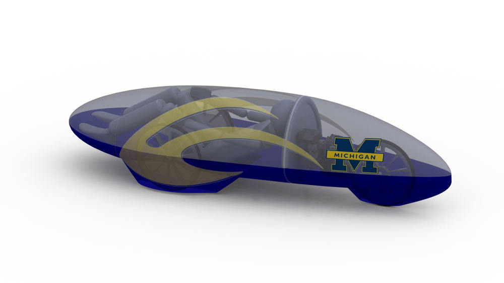 A concept drawing of the U-M Supermileage team's vehicle. Courtesy of the U-M Supermileage team