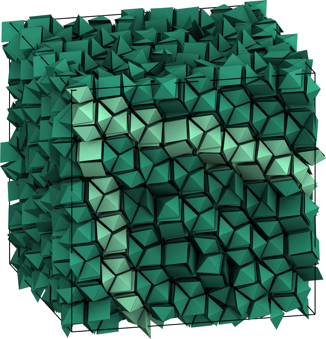 Shapes can arrange themselves into crystal structures through entropy alone, new research from the University of Michigan shows. Image credit: P. Damasceno, M. Engel, S. Glotzer