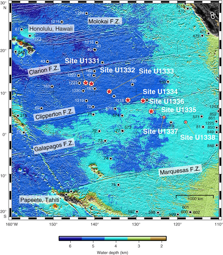 Map of drilling sites. Image credit: Integrated Ocean Drilling Program/United Stated Implementing Organization (IODP/USIO)