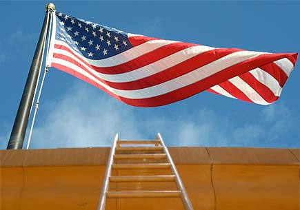 Composite image of a ladder beneath a waving American flag. Images by sxc.hu users hlee3787 and asifthebes