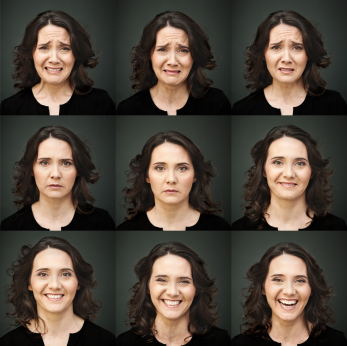 Middle aged woman with a variety of facial expressions. (stock image)