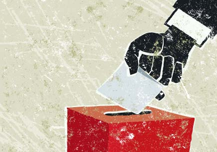 Illustration of a hand dropping a ballot into a box. (stock image)