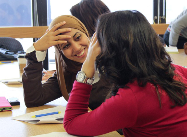 Nada Heggy, an Egyptian entrepreneur, takes part in an active listening exercise with other program participants.  Photo by Eva Menezes