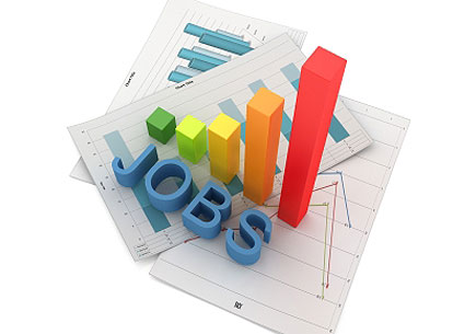 Image depicting the word jobs in 3D. (stock image)