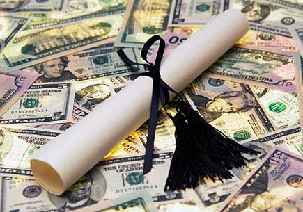 Diploma with money. (stock image)