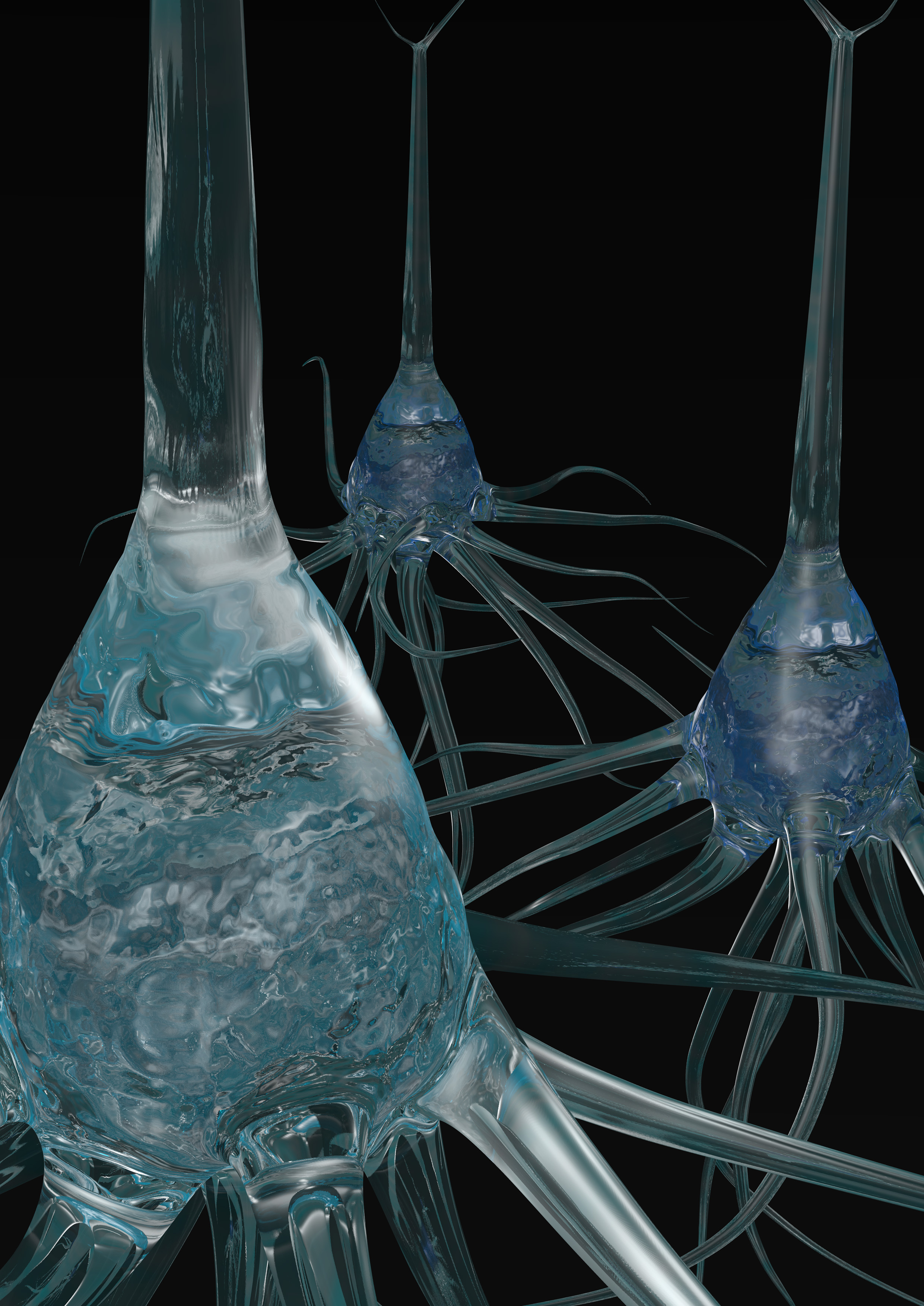 An artist's rendering of individual neurons. A new electrode developed at the University of Michigan can focus on the electrical signals of just one neuron. It may help researchers understand how electrical signals move through neural networks in the brain. Because this electrode is so small and unobtrusive, it may be able to stay in the brain for long periods without upsetting the immune system, perhaps picking up signals to send to prosthetic limbs. Image credit: Takashi Kozai