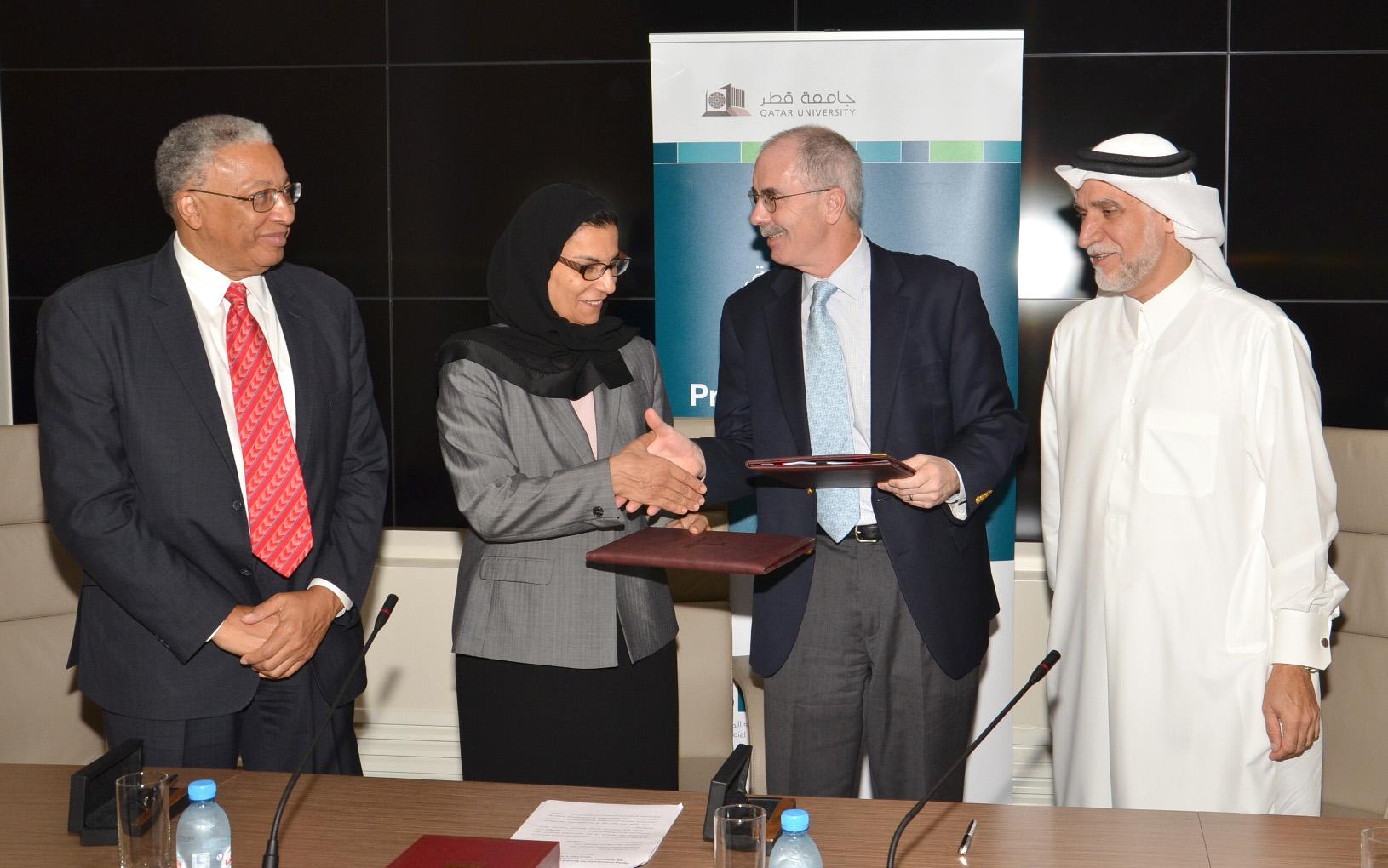 Prof Jackson, Prof Al Misnad, Prof Hanlon and Dr Al-Emadi
