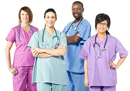 A group of multi-ethnic healthcare workers. (stock image)
