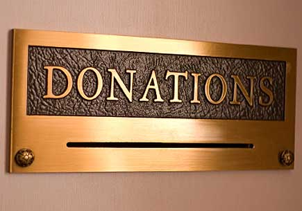 Image of a gold donation box. (stock image)
