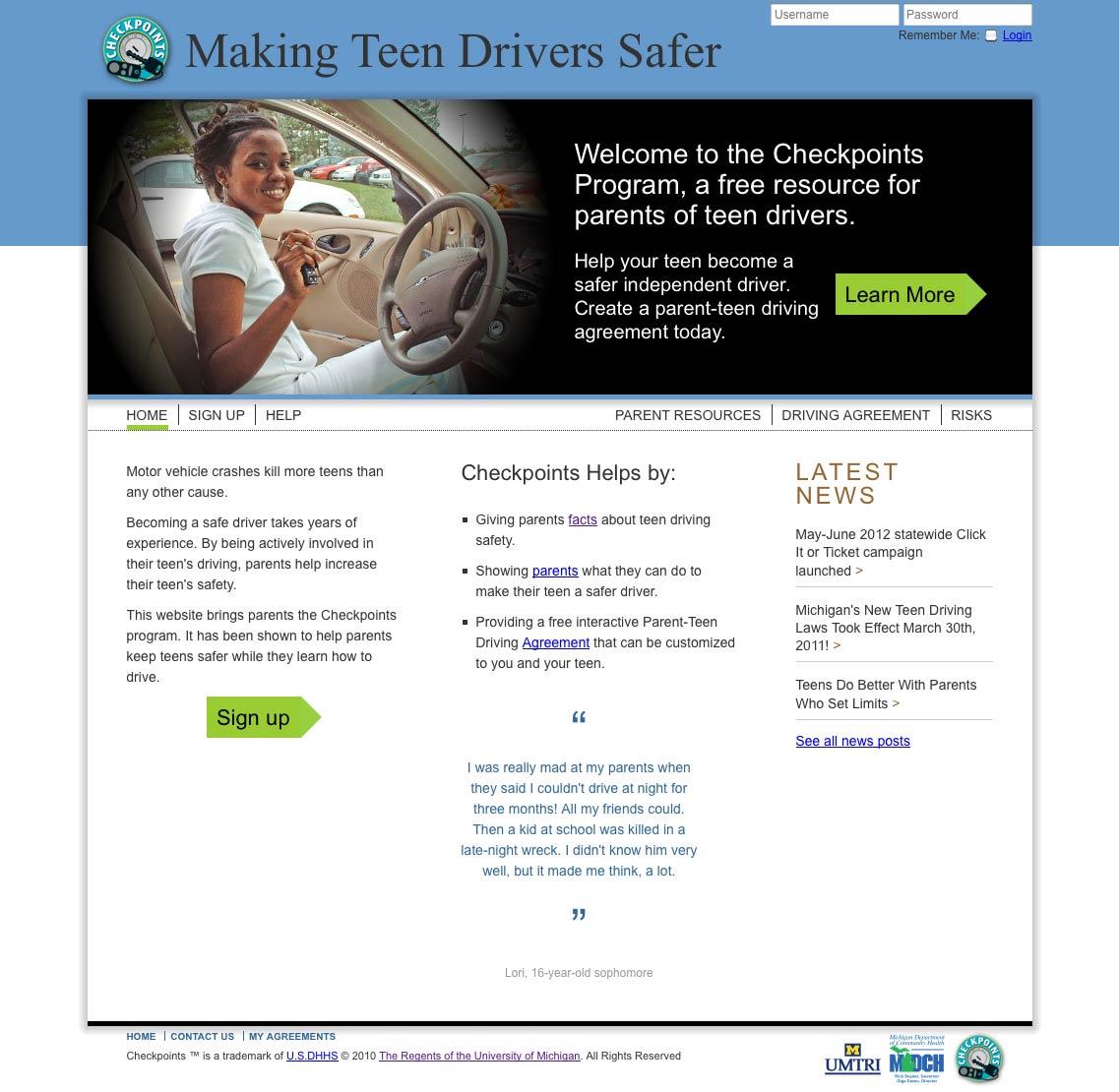 Checkpoints program website screenshot