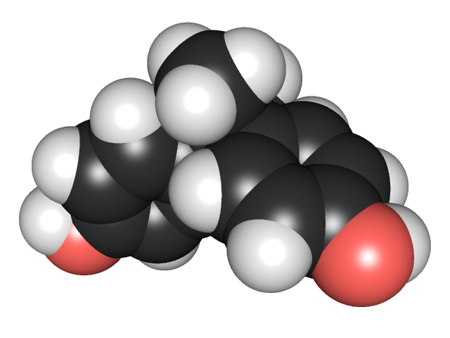 3D chemical structure of bisphenol A. Image courtesy of Edgar181 via Wikimedia Commons