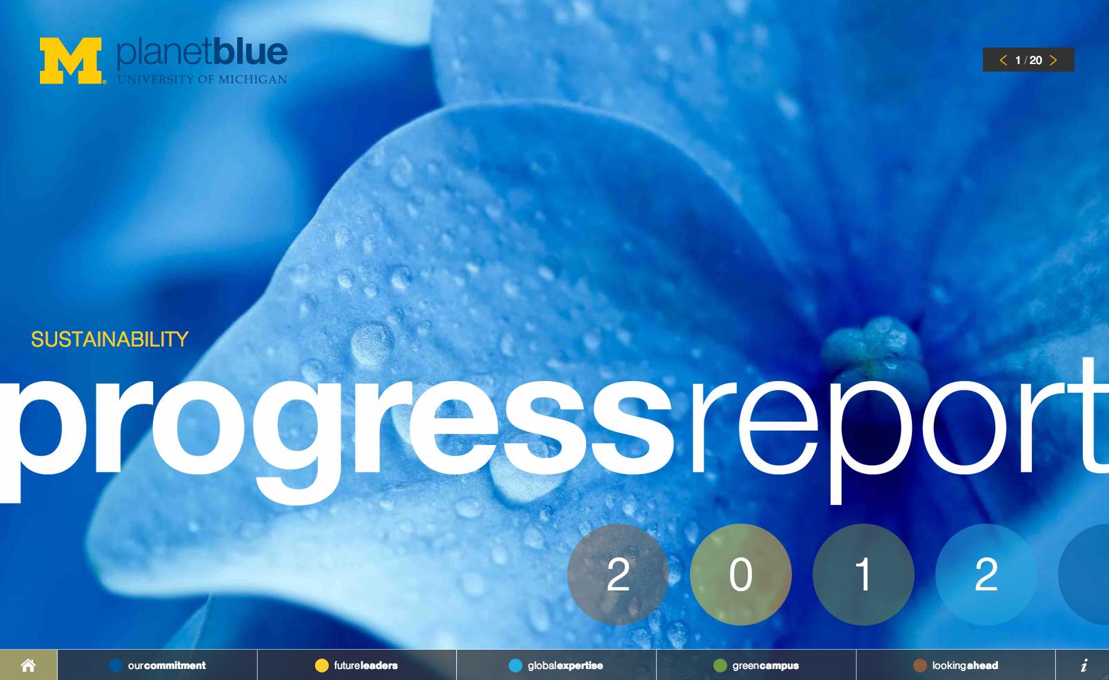 University of Michigan Planet Blue Sustainability Progress Report 2012 website