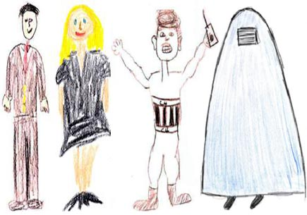 Crude drawings of stereotypical Caucasian and Arab men and women