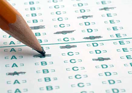 A pencil filling in a testing sheet. (stock image)