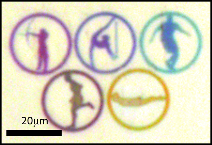 University of Michigan researchers created the color in these tiny Olympic rings using precisely-sized nanoscale slits in a glass plate coated with silver. Each ring is about 20 microns, smaller than the width of a human hair. They can produce different colors with different widths of the slits. Yellow is produced with slits that are each 90 nanometers wide. The technique takes advantage of a phenomenon called light funneling that can catch and trap particular wavelengths of light, and it could lead to reflective display screens with colors that stay true regardless of the viewer's angle. Image credit: Jay Guo, College of Engineering