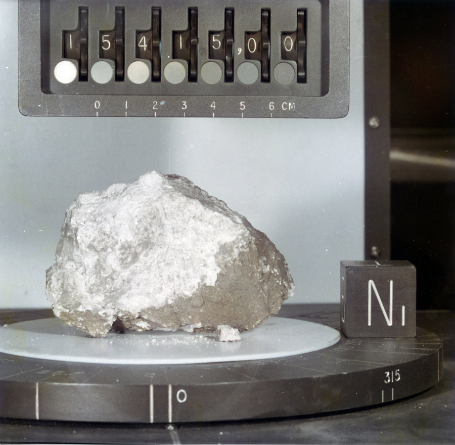 "Called the ""Genesis Rock,"" this lunar sample of unbrecciated anorthosite collected during the Apollo 15 mission was thought to be a piece of the moon's primordial crust. In a paper published online Feb. 17 in Nature Geoscience, a University of Michigan researcher and his colleagues report that traces of water were found in the rock. Photo courtesy of NASA/Johnson Space Center"
