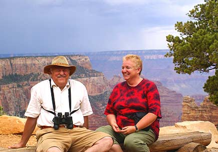 Baby-boomers couple having fun in Grand Canyon, USA. (stock image)