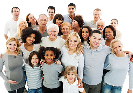 A diverse group of Americans. (stock image)