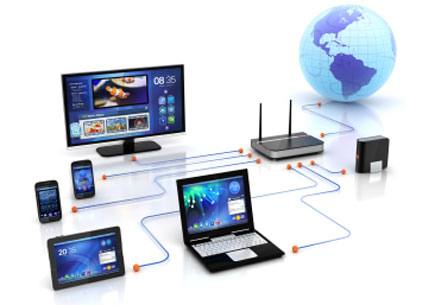 Wifi router connectivity to smart tv streaming, digital HDD storage, PCs & laptops, smartphones and tablet PC (stock image)
