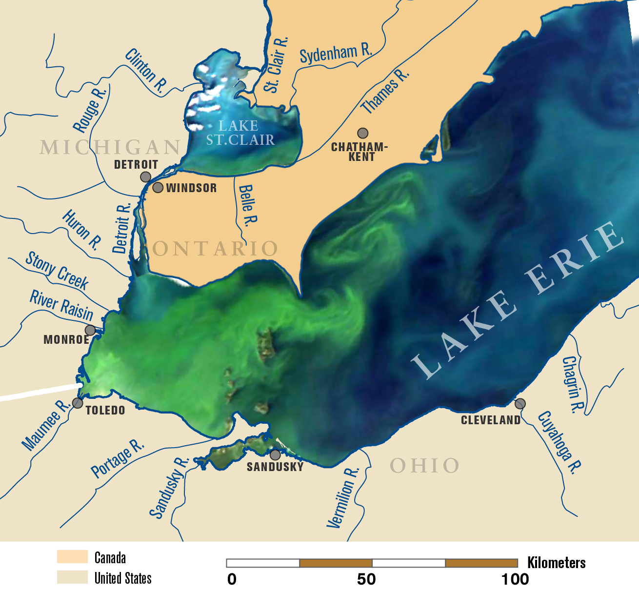 A satellite image of Lake Erie on Sept. 3, 2011, overlaid on a map of the lake and its tributaries. This image shows the bloom about six weeks after its initiation in the lake's western basin. On this date, it covers the entire western basin and is beginning to expand into the central basin. Map by Michigan Sea Grant