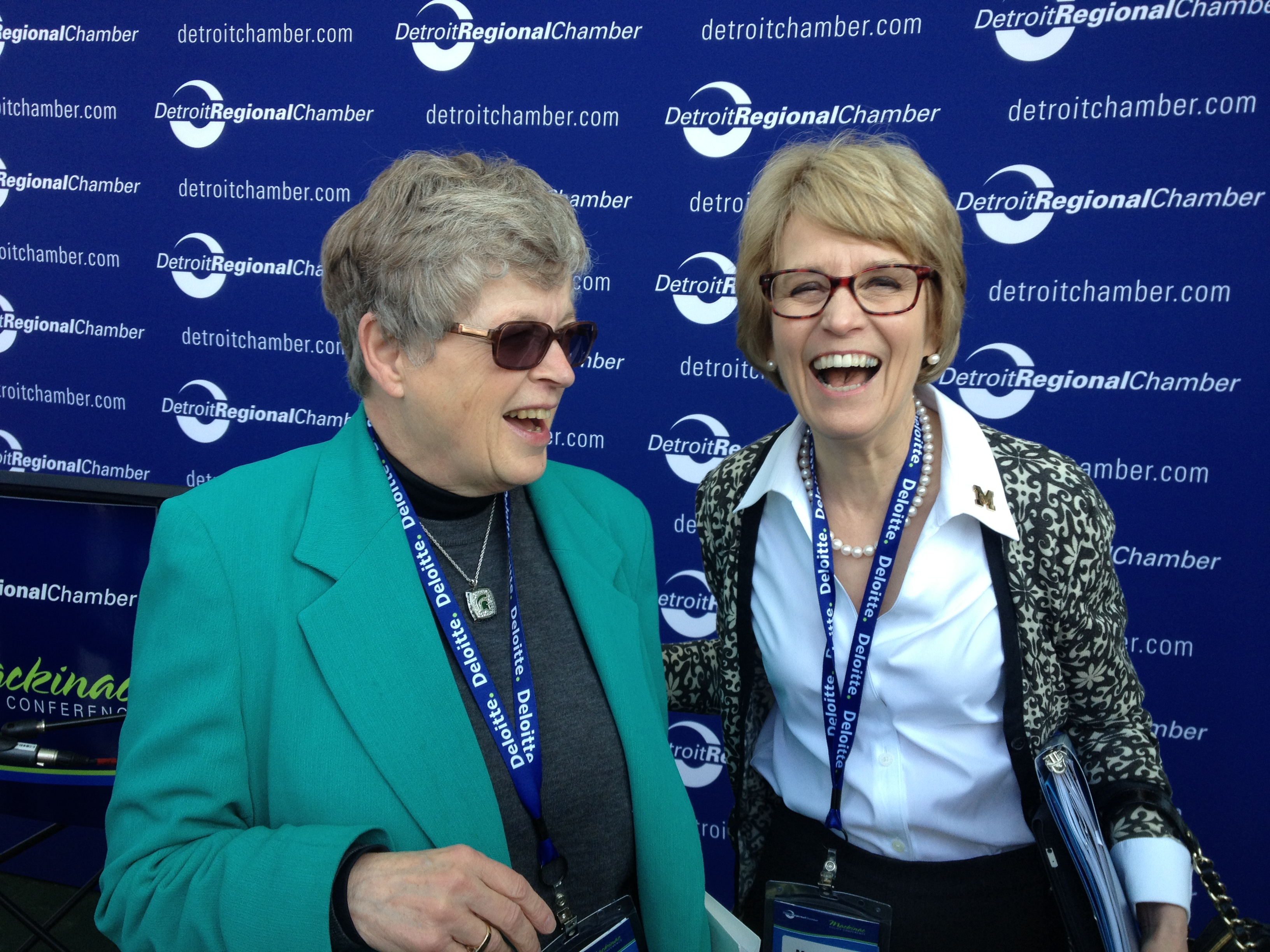 MSU president Lou Anna Simon with Mary Sue Coleman at the 2013 Mackinac Policy Conference. Image credit: John Russell, URC