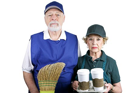 A senior couple stuck in boring service jobs because they can't afford retirement. (stock image)
