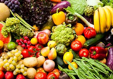 A large variety of fruits and vegetables. (stock image)