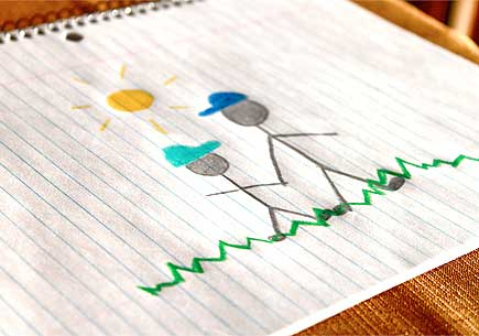 Children's drawing of a father and son.