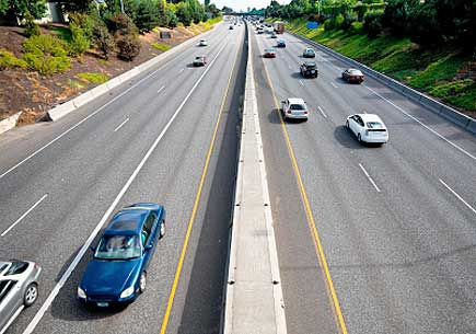 The view from an overpass that bridges Interstate 5 in Portland, Oregon. (stock image)
