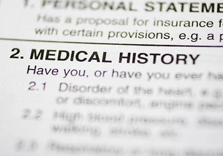 Photo of paperwork with Medical History headline. (stock image)