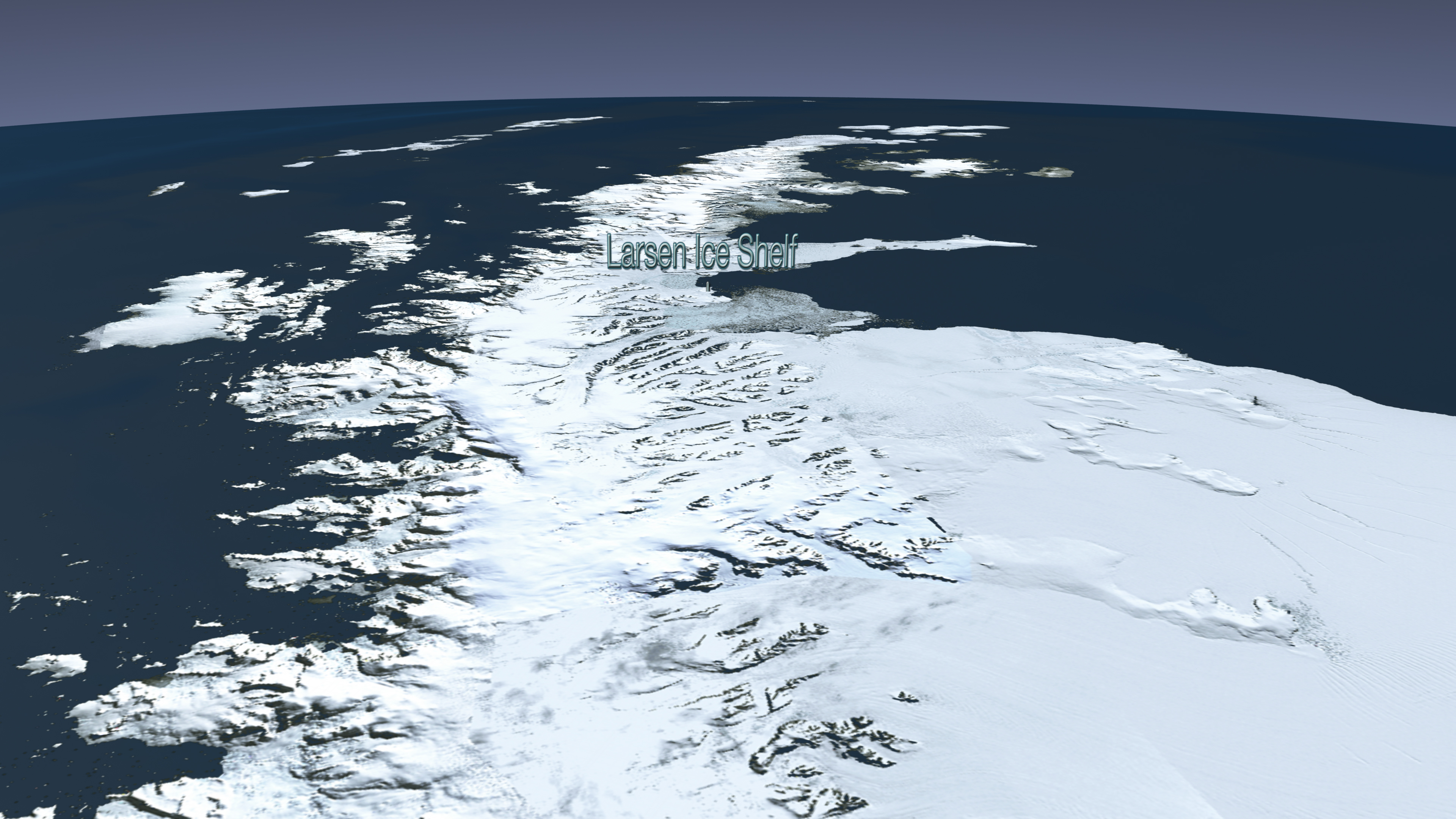 The Larsen B ice shelf began disintegrating around Jan. 31, 2002, and eventually collapsed into the Weddell Sea. University of Michigan researchers have devised a new model of iceberg calving that can mirror this event. Credit: NASA