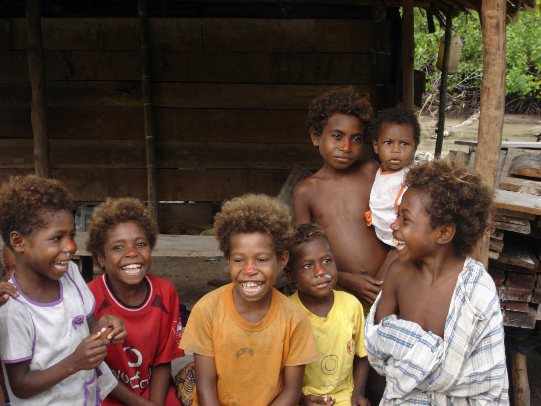 Children from a village in the Papua province of Indonesia. The village is involved in conservation activities related to the preservation of the red bird of paradise. Image credit: Daniel Miller