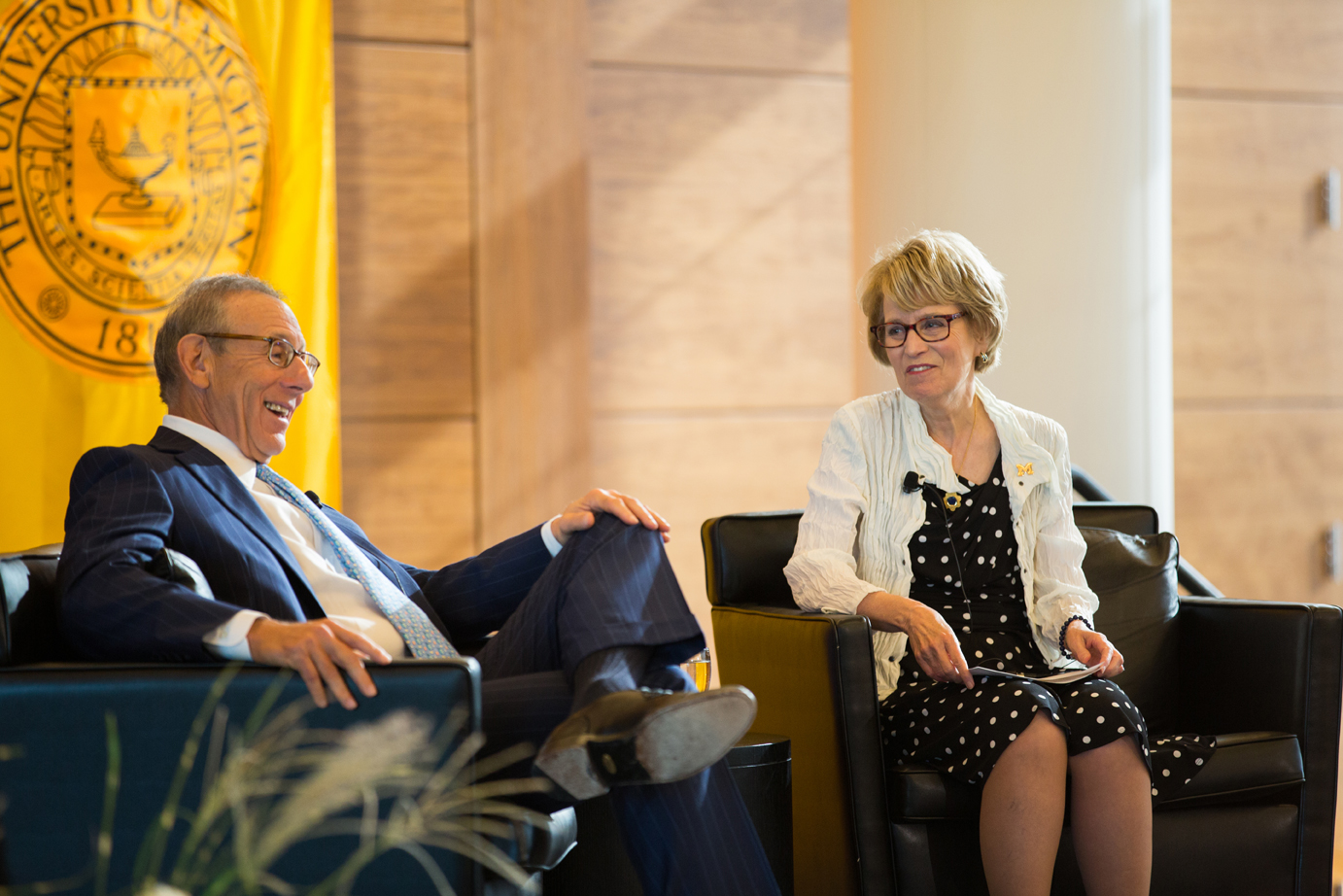 Stephen M. Ross and Mary Sue Coleman at today's press conference. Image credit: Michigan Photography