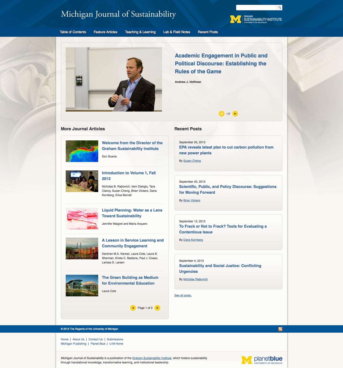 Screenshot of Michigan Journal of Sustainability website.