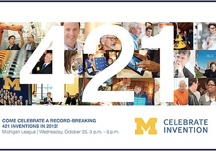 "Event invitation with headline ""Come celebrate a record-breaking 421 inventions in 2013!"""